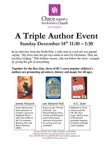 Reminder: Once Upon A Huckleberry TRIPLE AUTHOR event this