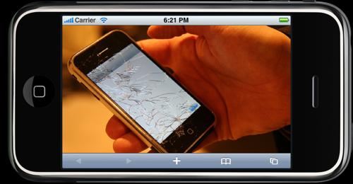 Un iPhone mostrando en su interior una foto de otro iPhone con la pantalla reventada por una caida