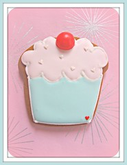 Cupcake Gingerbread Cookie (Pinks & Needles (used to be Gigi & Big Red)) Tags: pink cute cookies cherry aqua sweet gingerbread cupcake treat edible baked week51 fondant shabby royalicing bakingjournal