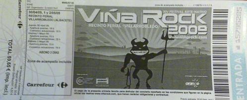 Entrada Viña Rock 2009
