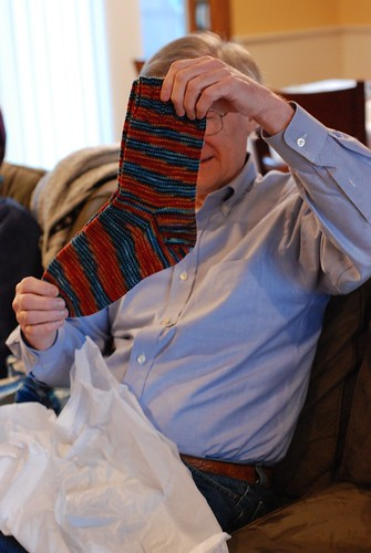 """Dad, let me take a picture of you with the socks"" (by aswim in knits)"