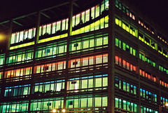 photo of the day 28/11/08 - office colours (Pete Repka) Tags: blue light red green yellow lights bloomberg office moorgate bloombergbuilding photooftheday cityroad finsburysquare bloomberguk bloomberghq