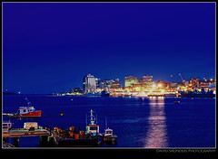 "Halifax during the ""blue hour"" (Dave the Haligonian) Tags: nightphotography sunset copyright canada night lights harbor novascotia harbour dusk bluehour halifax fishingboat atlanticocean nikond90 davidsaunders dsc7397 davethehaligonian halifaxduringthebluehour"