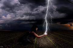 Day 57/365-The Lightning Catcher (emyah) Tags: portrait girl field photoshop self project glow manipulation lightning 365 manip sprouts sotrm explored