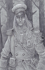 Steampunk Vampire - A Russian officer who also happens to be a vampire, his mesmeric gaze can stop a victim in their tracks. Another line and wash drawing heightened with white.