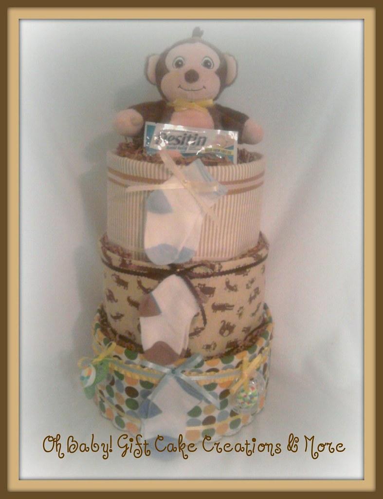 Cuddle Monkey 3 tier diaper cake 2