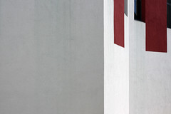 (Delay Tactics) Tags: red white abstract black wall grey university optical explore illusion huddersfield