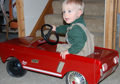 owen cruises in mustang pedal car