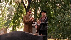 Adrian Monk plays the clarinet with Willie Nelson