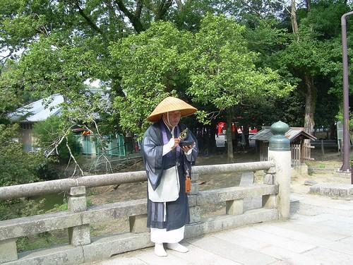 Monje pedigüeño en Nara