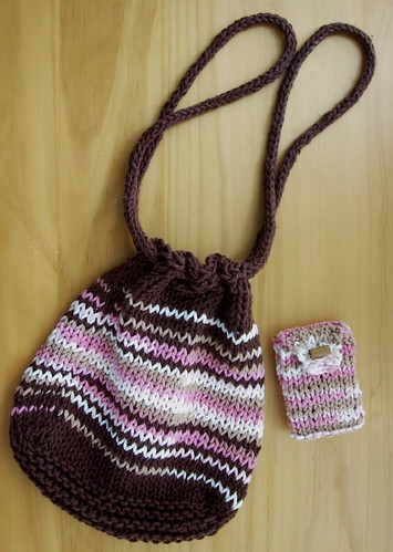 Brown and Pink Cotton Knit Purse -- Purse and Pouch