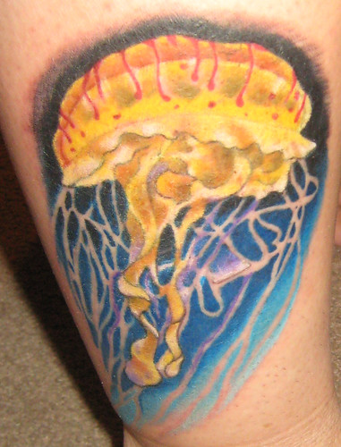 tattoos of jellyfish. jellyfish tattoo by Dozoara