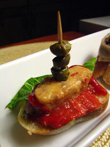 Spanish Pintxos Made @ Home - Stuffed Red Pepper with Lettuce and Capers