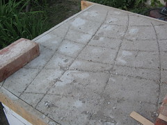 Concrete surface on which to put the fireclay bricks.