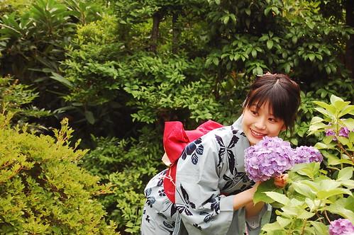 Flowers, Kimono and smile
