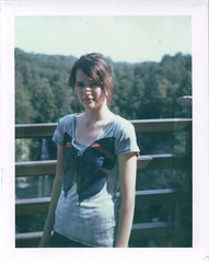 Amanda (Kate Pulley) Tags: park blue trees summer lake amanda girl polaroid waterfall sister tennessee national fallcreekfalls 320 packfilm iduv oneoftheonlyvirginforestsinthecountry