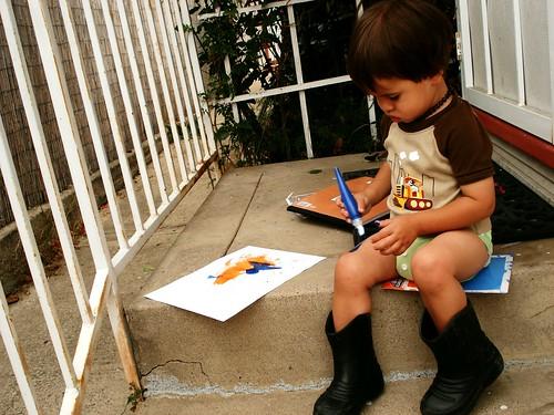 painting his leg