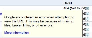 Google 404 Errors Not Right