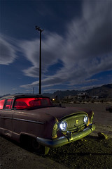 Infield Bound (Lost America) Tags: lightpainting abandoned car night flash fullmoon flashlight junkyard 1956 nash ambassador strobe highway395 pearsonville