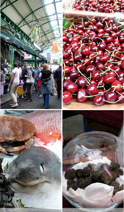 Markets, cherries, shark, tuffles : )