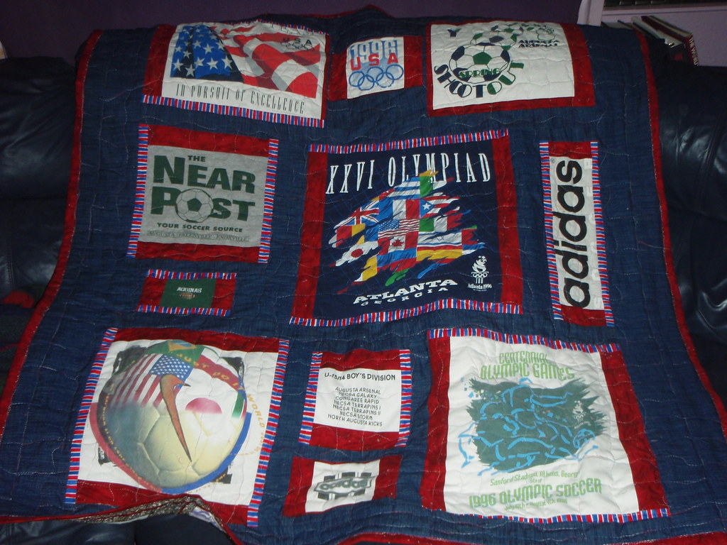 Olympic themed t-shirt quilt-made by me