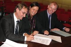 Gedeputeerde Gilbert Vanbaelen, Schepen Véronique Caerts en Minister Marino Keulen