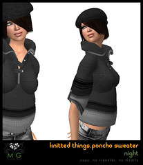 [MG fashion] Knitted Things Collection - Poncho Sweater (night)