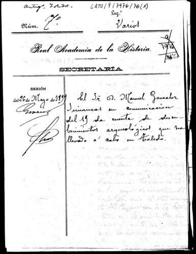 Documento de comunicación del descubrimiento de la inscripción cúfica en la Mezquita del Cristo de la Luz por D. Manuel González Simancas en 1899