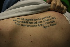 """Dylan Thomas"" poem tattoo caslon (typographyshop) Tags: tattoo typography poem suicide silkscreen type dylanthomas typographic caslon suicidenote poemtattoo toryfranklin typographictattoo"