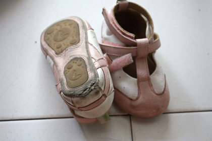 old pink and white shoes