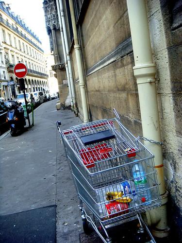 abandoned carts next to a church, Paris