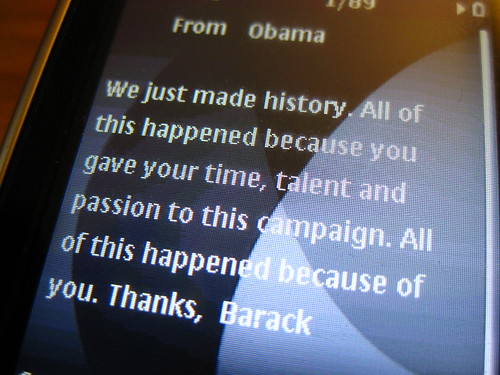 Victory Text from Obama