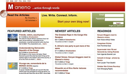 Maneno.org - blog platform for Africa