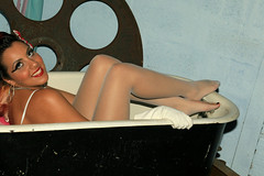 Bath Time (DrkMage) Tags: november 15fav woman sexy girl beautiful smile eyes legs gloves bathtub 2008 pinupgirl
