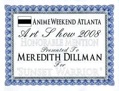 Award from Anime Weekend Atlanta