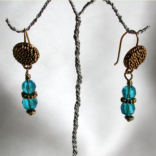 Blue and brass earrings