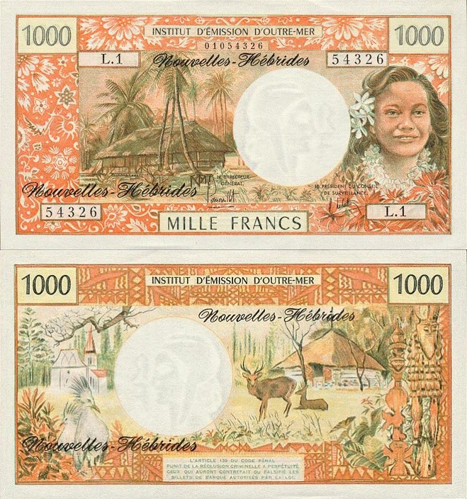 New Hebrides P-20, 1,000 Francs