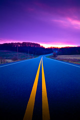 Destination (Loren Zemlicka) Tags: road travel november blue autumn sunset fall lines yellow wisconsin rural canon landscape highway midwest purple pavement stripes horizon country curvy hills transportation destination 5d winding straight curve asphalt distance 2008 wi canonef1740mmf4lusm moonvalley canoneos5d flickrexplore lorenzemlicka