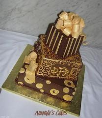 50th Birthday Cake (mandotts) Tags: brown gold monogram chocolate circles stripes ganache polkadots gifts birthdaycake present swirls dots fondant scrolls gumpastebow ediblebow