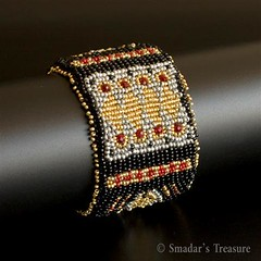 Yemenite Style Embroidered Cuff (Smadar's Treasure) Tags: embroidery jewelry bracelet cuff beaded bao seedbeads beadweaving ebw beadwoven embeadery ebwteam beadartoriginals
