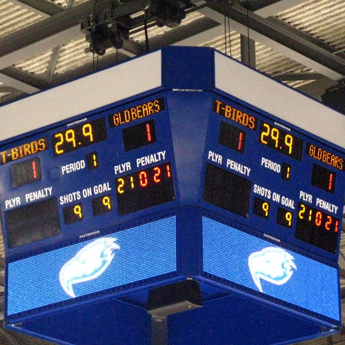UBC hockey game scoreboard