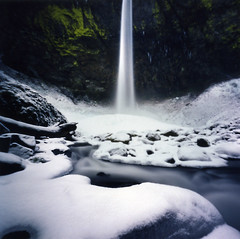 anticipation. (manyfires) Tags: blue winter snow film ice oregon frozen waterfall pinhole pacificnorthwest icy zero2000 zeroimage palabra elowahfalls columbiariverscenicgorge pinholebb