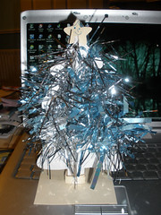 Christmas tree made of paper and tinsel