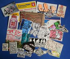 stickerpack from putup (australia) (Ohhhhhhhhhhhh) Tags: street urban art graffiti switzerland sticker stickers vinyl australia tags trade tano slaps tausch stinkfist putup bytedust butterbeats abziehbild