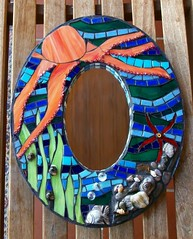 Octopus Mirror (Amanda Edwards (mandolinmosaics)) Tags: ocean sea orange fish water glass wall mirror colorful starfish mixedmedia blues stainedglass funky round octopus hanging custom snails millifiori piecemakers piecemakersmosaic