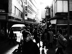 machida, (chihilo) Tags: street light shadow bw girl face japan town afternoon highcontrast ombre  rue japon slope   machida