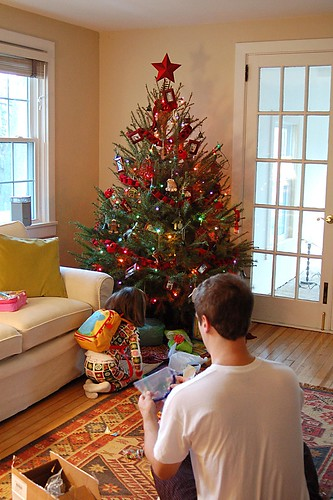 Christmas morning scene.
