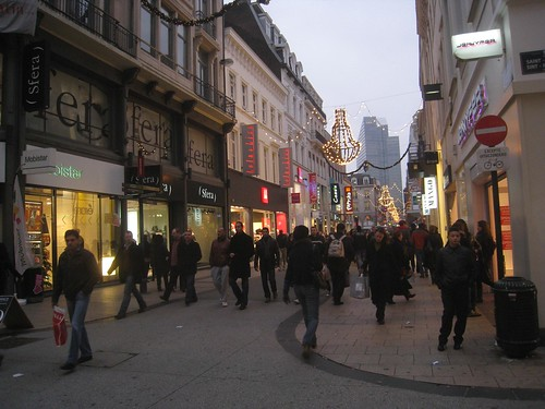 Last-minute holiday shoppers in Brussels.