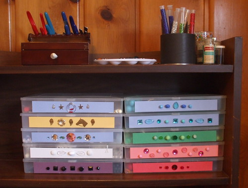 Re-organized bead boxes, tools, and palette shelf