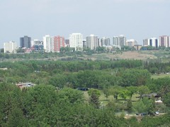 View of Downtown from Valleyview Drive (raise my voice) Tags: park canada nature geese edmonton goose hawrelak